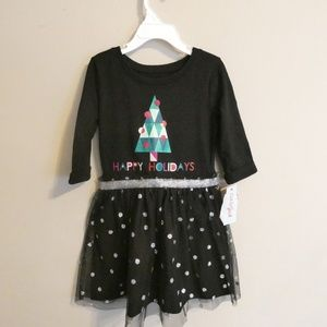 Cat & Jack Girl's Black Christmas Sparkle Dress